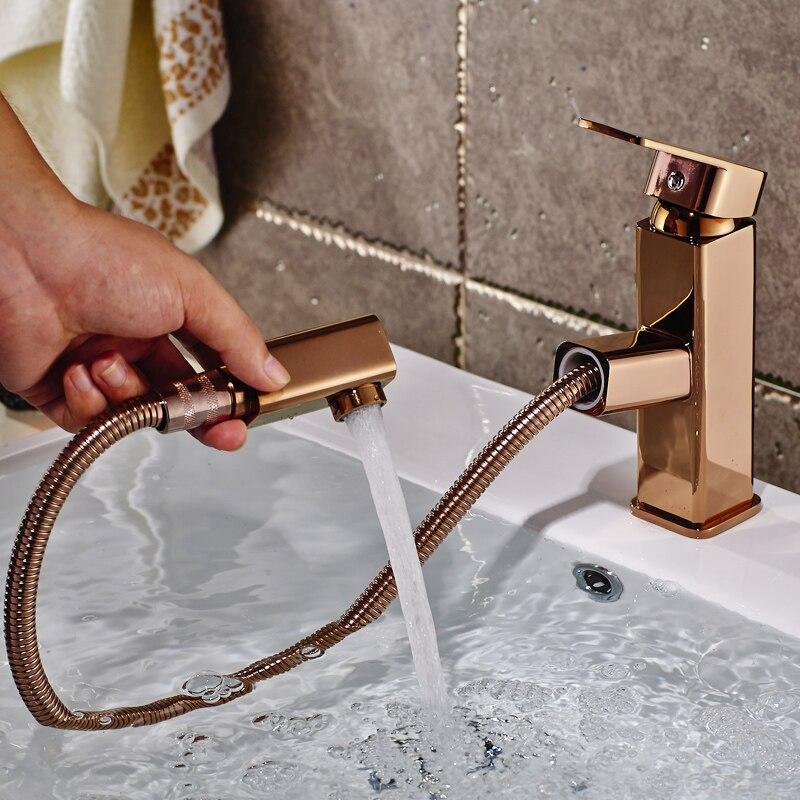 Pull out bacia toque mixer 360 graus girar tipo torneira da bacia ouro rosa chrome banheiro torneiras única mão do banheiro