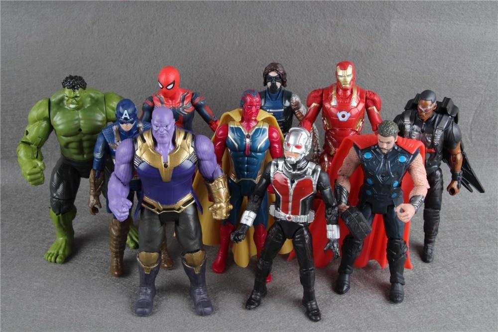 10Pcs/Set Avengers 3 Figure Super Heroes Thanos Hulk Captain America Thor Iron Man PVC Action Figure Toys