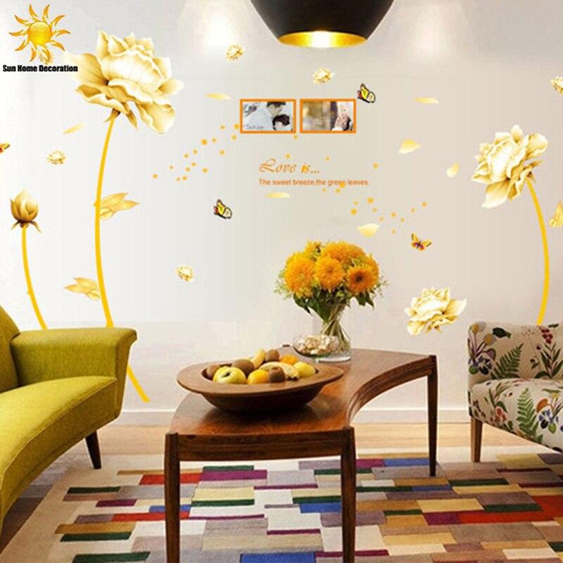 Abnehmbare 3D Goldene Homecoming Blumen Wandaufkleber Kunst Wand Schlafzimmer Wandaufkleber Dekoration Aufkleber Wandbild