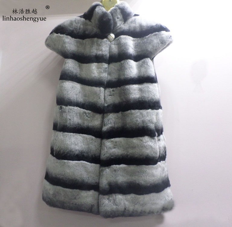 Linhaoshengyue Chinchilla rex rabbit fur vest