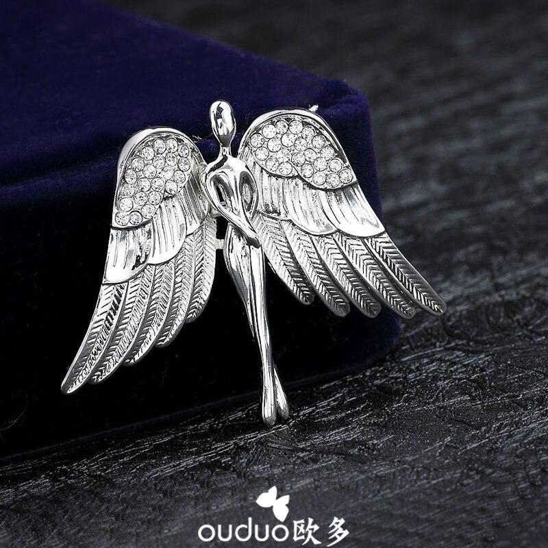 Quality men's CZ Rhinestone collar pin brooch angel wings Korean style sweater cardigan suit retro Pin Badge jewelry