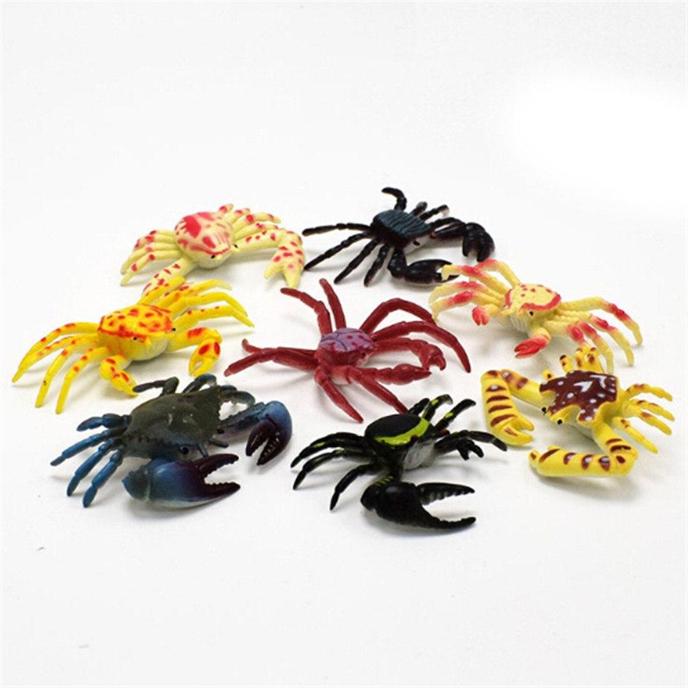8 pçs kawaii simulação animais estátua mar tartaruga caranguejo modelo estatueta bonsai garrafa pvc brinquedos de fadas jardim terrário artesanato