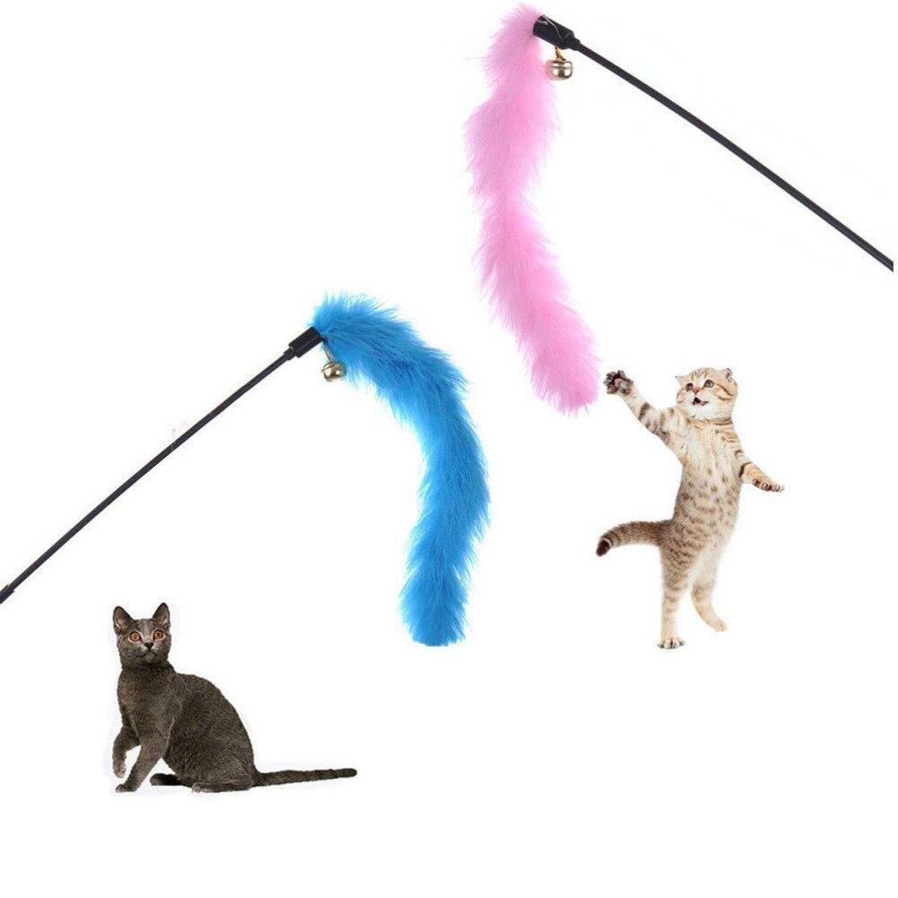 1 unidad, varita de pluma de colores al azar para gato, gatito, tren de salto, ayuda, juguete divertido para mascotas, juguete para mascotas