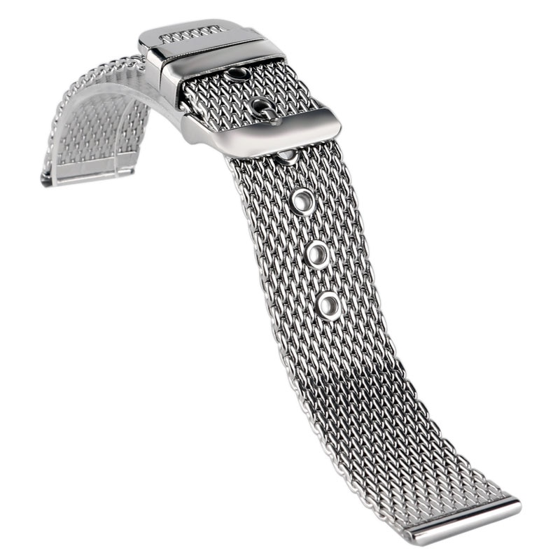 Correa de reloj de malla de acero inoxidable de alta calidad 18mm 20mm 22mm correa de reloj hebilla Rosa correa de reloj