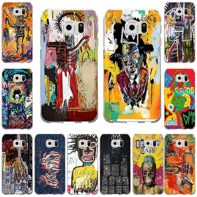 Jean Michel Basquiat arte cubierta de teléfono de TPU suave para samsung galaxy s3, S4 y S5 Mini S6 S7 S8 S9 S10 Edge Plus Lite Nota 5 8 9 Shell