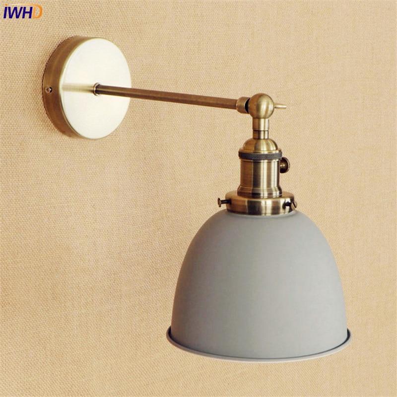 IWHD-مصباح جداري LED نحاسي رمادي اديسون ، مصباح بجانب السرير E27 4 واط ، درج ، عتيق ، ذراع ، شمعدانات زينة ، مصباح حائط