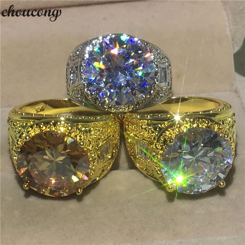 Choucong anillo de lujo de Estilo Vintage para hombre, anillo grande de 10ct AAAAA con piedra de circón, oro amarillo, anillos de boda para fiesta, joyería para los dedos de los hombres