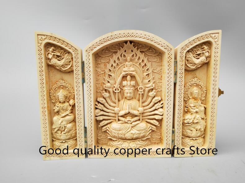 China handwork escultura em madeira mil mãos guanyin estátua de Buda