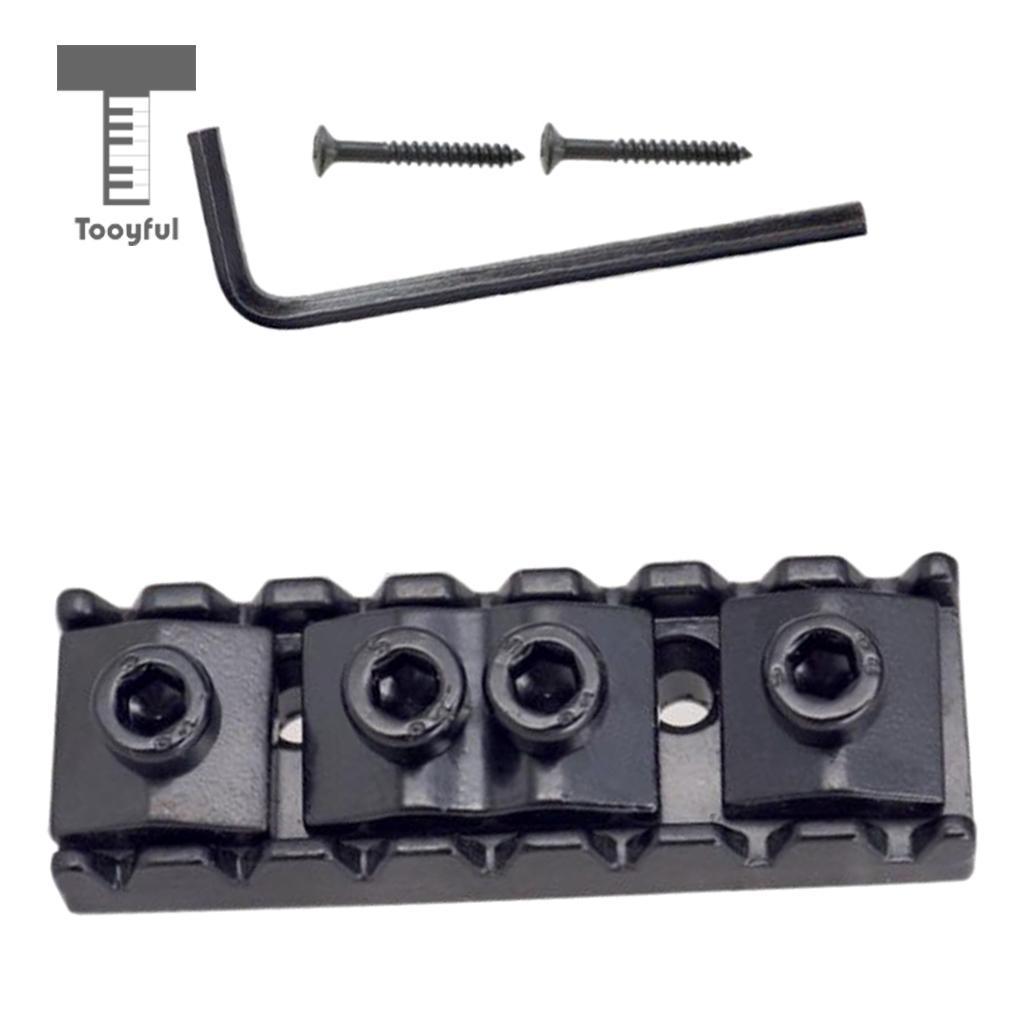 Tooyful, juego de tuercas de bloqueo de cuerda de aleación de Zinc negro, herramientas con 1 llave, 2 tornillos para 7 cuerdas de piezas de guitarra eléctrica DIY