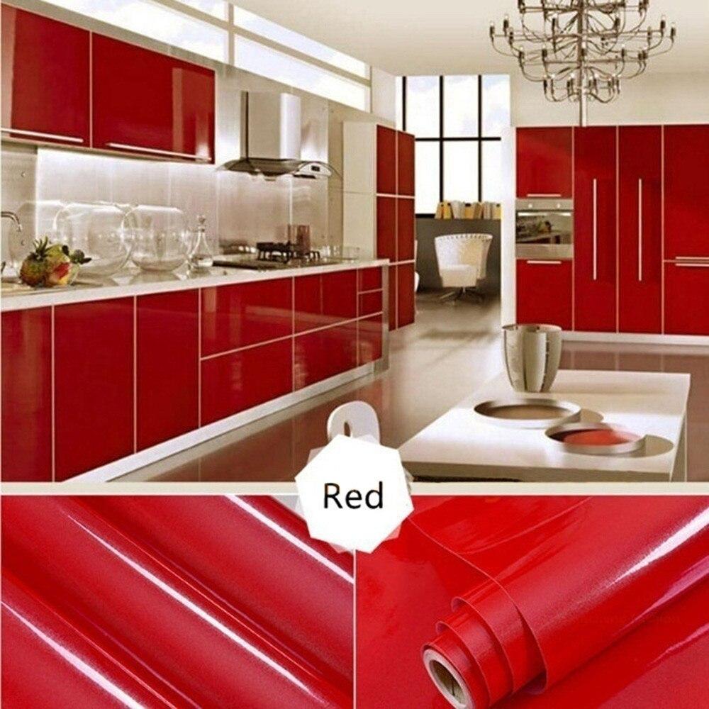 Empapelado extraíble en 13 colores, mueble brillante pegatinas restauradas impermeables para el hogar, cocina, armario, estante, cajón, decoración