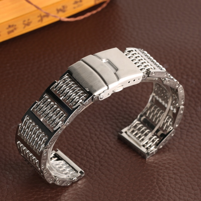 20/ 22/ 24mm Fold Clasp Stainless Steel Watch Band New Fashion Replacement for Wrist Watch Steel Mes