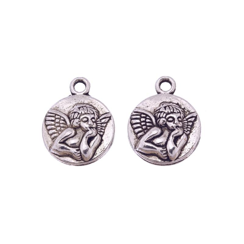 5 uds. Colgante Circular de plata tibetana para niñas y niñas, abalorios de Ángel de hadas, fabricación de joyería de colgantes de plata, hallazgos de joyería Vintage 20X16mm