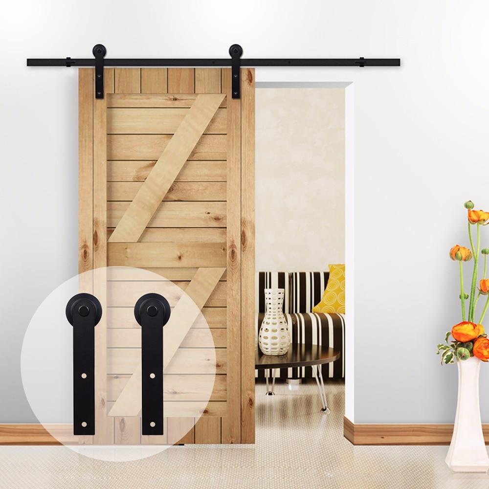 LWZH-طقم شماعات باب خشبي منزلق على الطراز الأمريكي ، 11 قدمًا/12 قدمًا ، فولاذ ، أسود