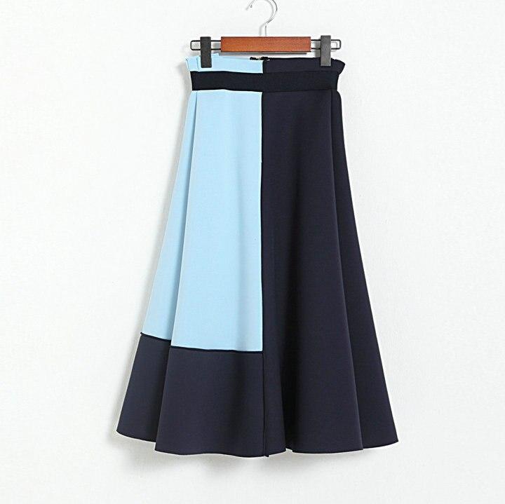 Skirts Womens Top A-line Saia Longa Lolita Europe And America 2020 New Style Womens High Waist Color Matching Umbrella Skirt