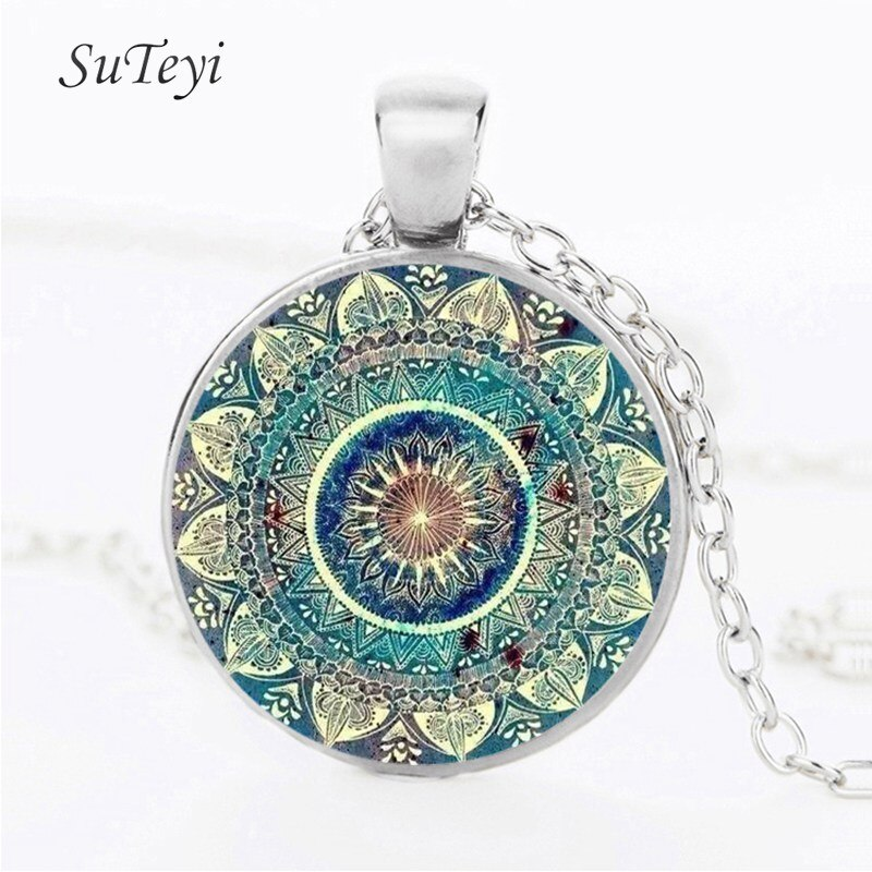 Ожерелье SUTEYI, винтажное, стеклянное, купольное, буддизм, чакра, кабошон, подвеска, украшения Om, Индия, ожерелье с мандалой для йоги, унисекс