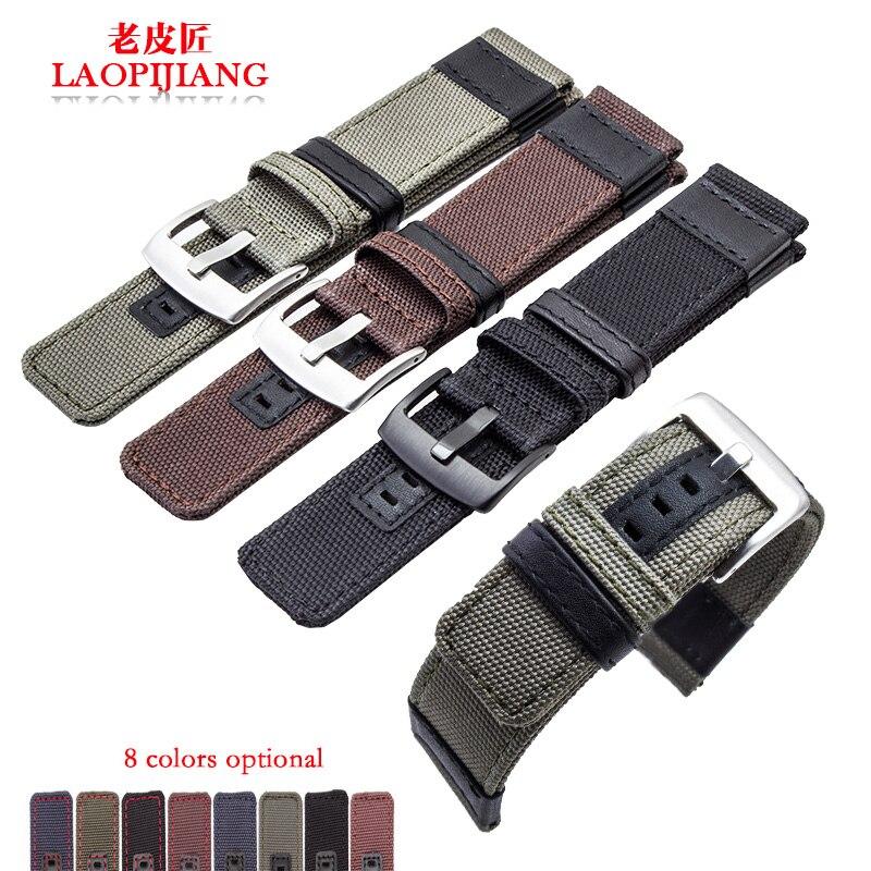 Nuevo diseño de alta calidad, tela de lona de Nylon, correa de piel mixta para hombres, compatible con Jeep JP15203, reloj Casio Citizen Seiko, correa de 22mm