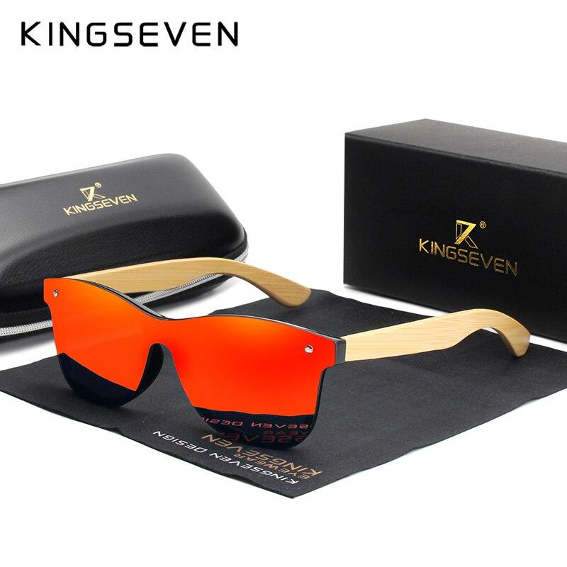 KINGSEVEN-lunettes de soleil en bambou   Lunettes de soleil polarisées pour hommes, lunettes carrées classiques, lunettes de soleil rétro féminines, logo personnalisé