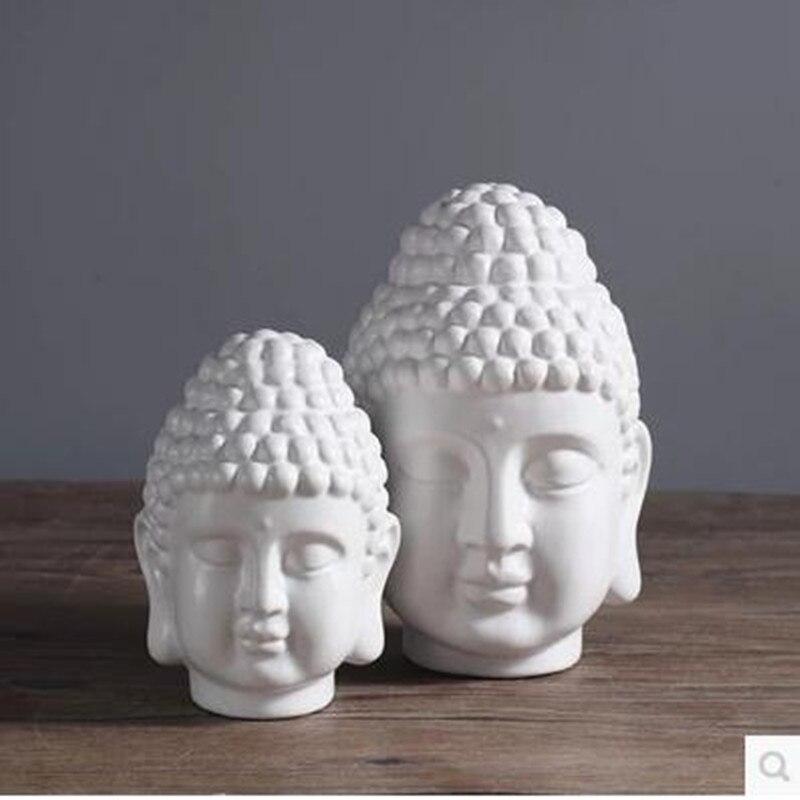 Estatua de Buda, cabeza de Buda de cerámica, decoraciones de feng shui para el hogar