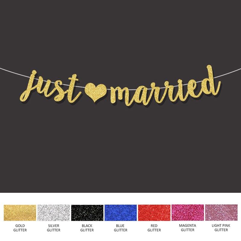 Decoração de casamento quente apenas casado com coração banner festa de noivado foto adereços do chuveiro de noiva decorações de festa de ouro suprimentos
