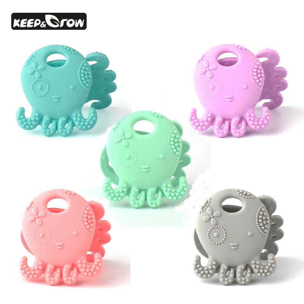 10 Pcs Octopus Jellyfish Mordedor Bebê de Enfermagem Bebê Bonito Macio Silicone Seguro DIY Contas de Colar de Pingente de Chupeta Dentição BPA Livre