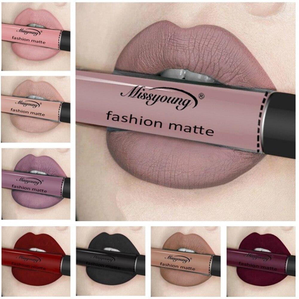 Lápiz labial líquido, 18 colores, resistente al agua, Mate, rojo, duradero, Ultra Mate, brillo labial, negro, azul, lápiz labial Nude