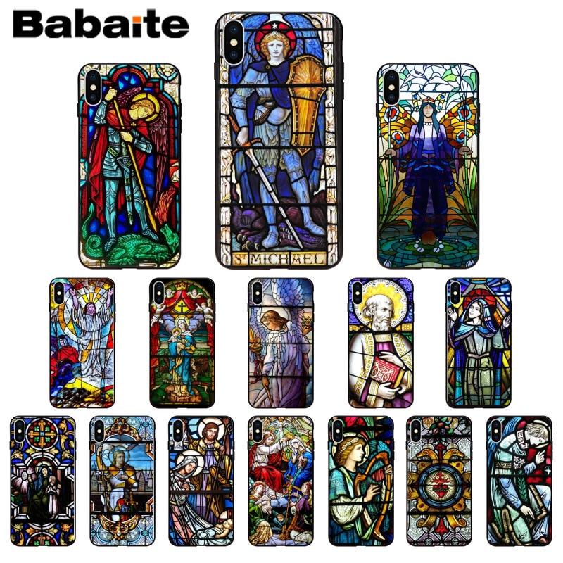 Carcasa de teléfono de alta calidad Babaite Ángel Iglesia Jesús vitral para Apple iPhone 8 7 6 6S Plus X XS MAX 5 5S SE XR