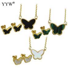 Nouveauté 3 couleurs papillon pendentif collier et boucles doreilles acier inoxydable bijoux fins pour les femmes cadeaux de mariage/fête danniversaire