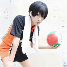 Anime Haikyuu!! Volley-ball Tobio Kageyama court noir Cosplay Costume perruque résistant à la chaleur + perruque casquette
