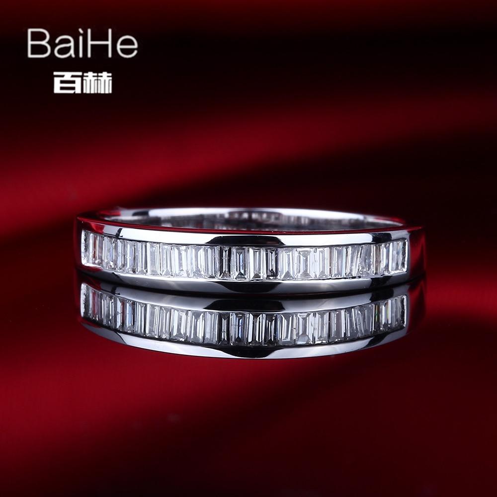 BAIHE Plata de Ley 925 0.29CT Certificado H/SI Baguette corte diamantes naturales auténticos compromiso mujeres delicado de moda anillo de joyería