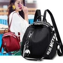 NOENNAME_NULL Women Nylon School Backpack Travel Satchel Rucksack Shoulder Bag Tote