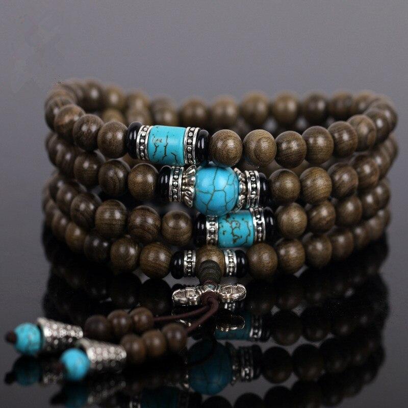 Tibetano budista feito à mão 108*0.8 cm natural ebony oração contas malas buda pulseira rosário pulseiras de madeira masculino jóias