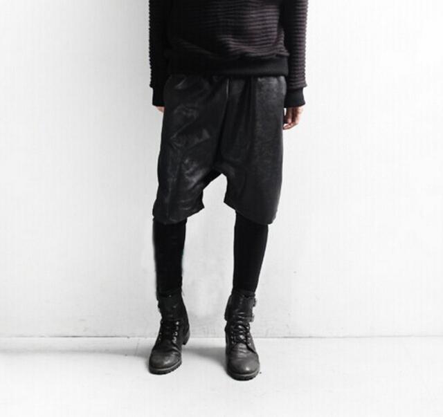 سروال رجالي من البولي يوريثان 27-44 ، موضة جديدة ، شخصية ، خياطة مزيفة ، طبقتين ، ربيع
