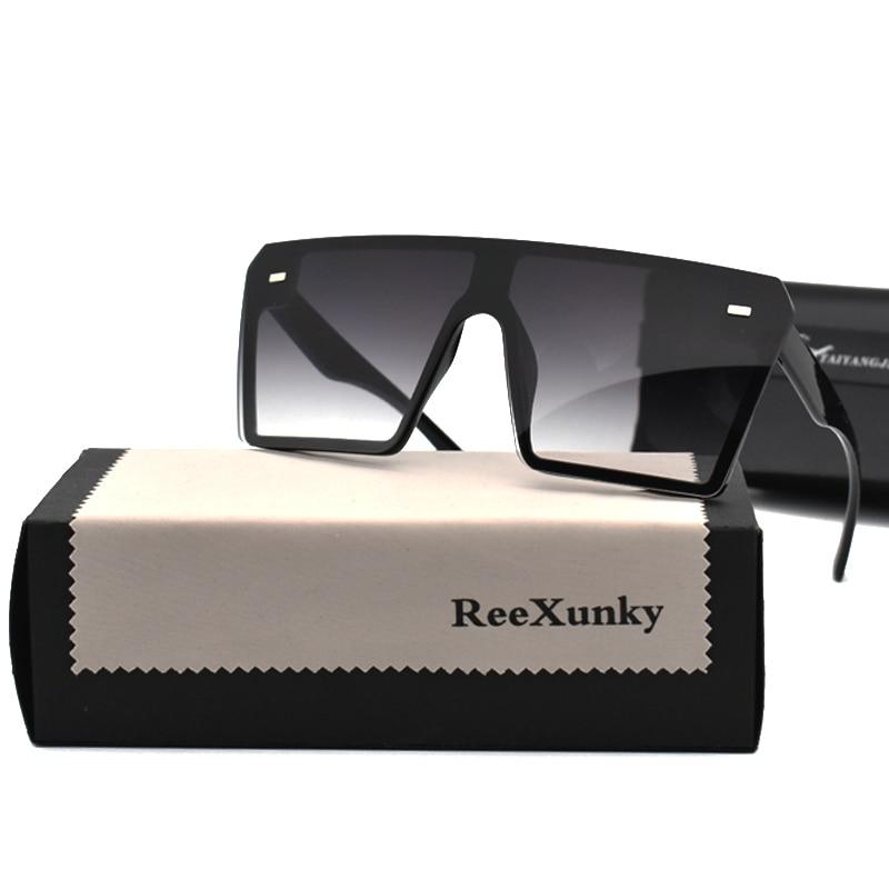 2020 Vintage Brand Designer Black Mirror Sunglasses Oversized Square Sunglasses For Women Flat Top S