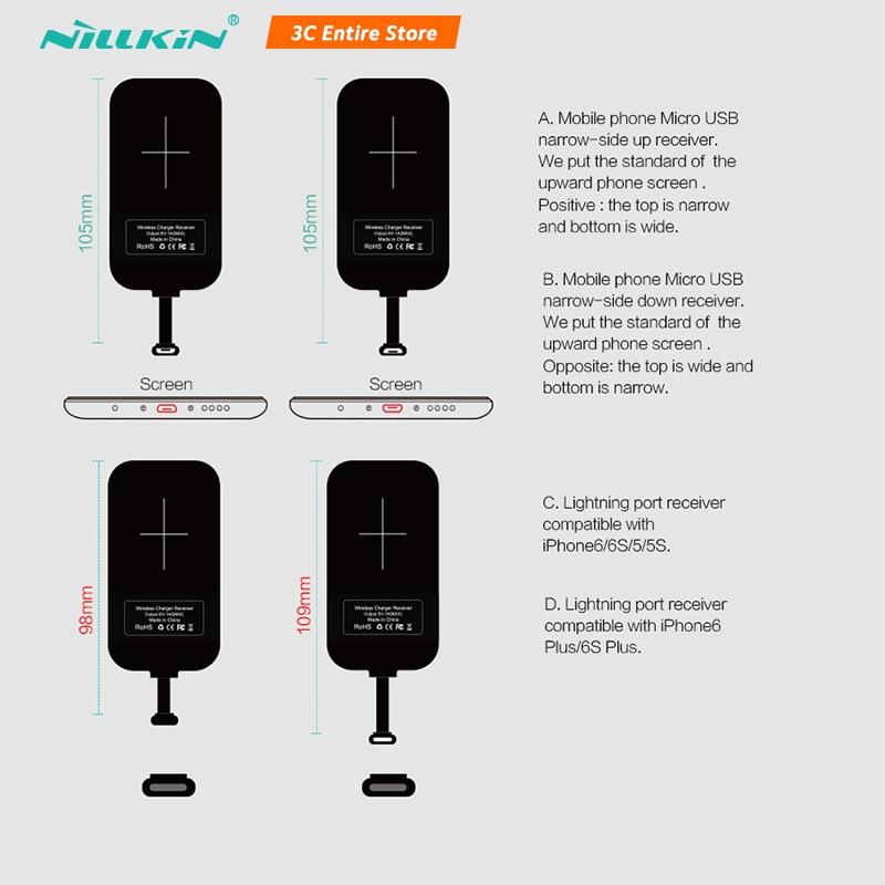 Para iphone 6S/7/7Plus, meizu oneplus Nillkin, adaptador de carga Universal Qi Receptor de Cargador Inalámbrico, receptor, interfaz Micro USB