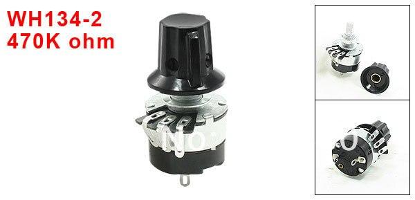 WH134-2 470K OHM B470K 5% giratorio de un solo giro potenciómetro de conicidad lineal potenciómetro de carbono w pomo