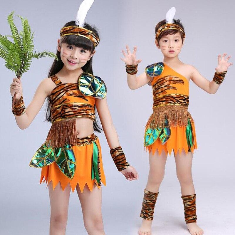 Los niños disfraz de salvaje niños niño niña cazador Wildman rendimiento Cosplay disfraces Halloween fiesta de Carnaval de Navidad