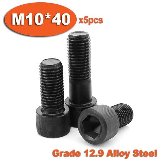 5pc DIN912 M10 x 40 Grade 12.9 Alloy Steel Screw Black Full Thread Hexagon Hex Socket Head Cap Screws