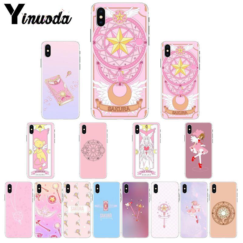 Yinuoda Sakura Cardcaptor de silicona suave de caso de teléfono transparente para Apple iPhone 7 6 6S Plus X XS X MAX 5 5S SE XR cubierta