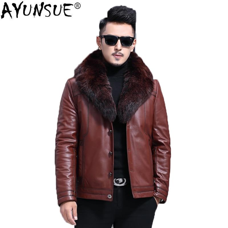 AYUNSUE حقيقية سترة جلدية الرجال جلد البقر الحقيقي الشتاء معطف المنك طوق الرجال سترة جلدية الصوف بطانة الثعلب الفراء F-9127 KJ1430
