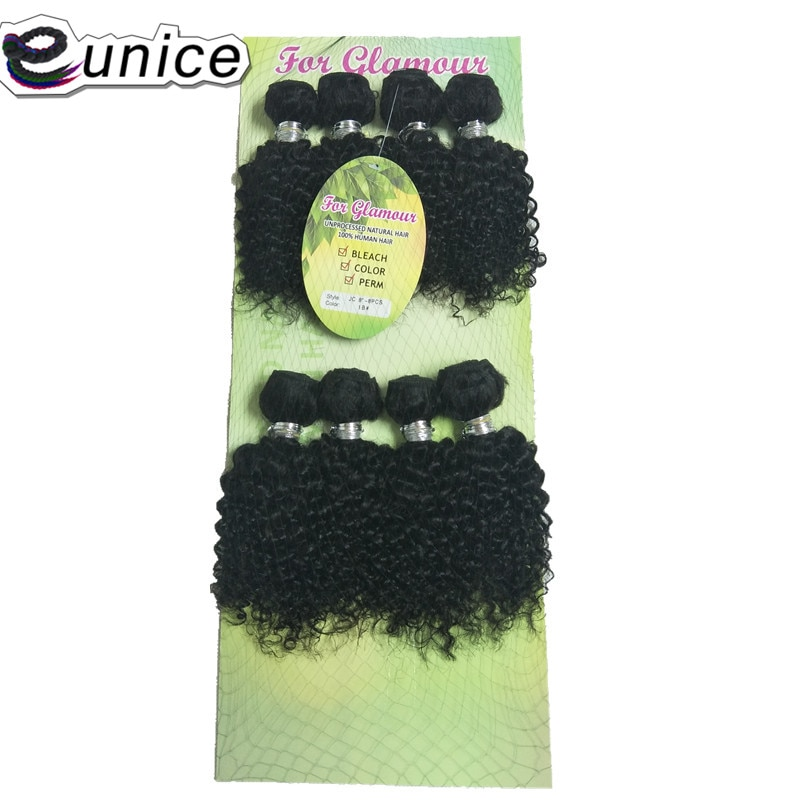 Mechones rizados Eunice Jerry en pelo tejido 8 unids/pack 200g extensiones de cabello sintético de Color Natural de 8-12 pulgadas
