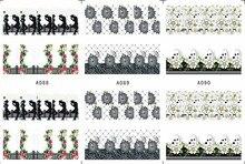 3 SHEETS/LOT Nail art Wasser Transfers Abziehbild-aufkleber COWBOY COWGIRL LAVENDEL KIRSCHBLÜTE ACTINIA A088-090