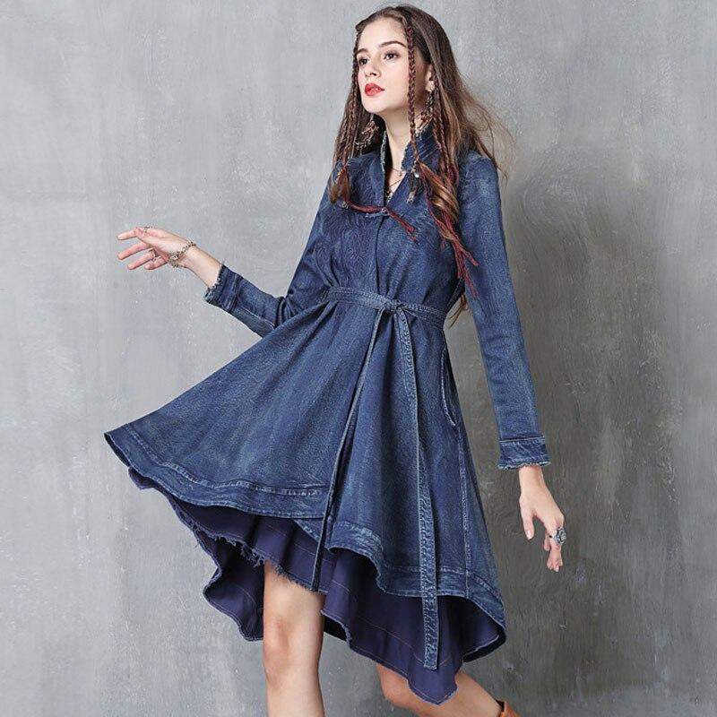 معطف واق من المطر مع كشكش غير منتظم للنساء ، أزياء الربيع والخريف ، نحيف ، أكمام طويلة ، حزام غير منتظم ، جينز أزرق ، معطف نسائي مطرز من الدنيم
