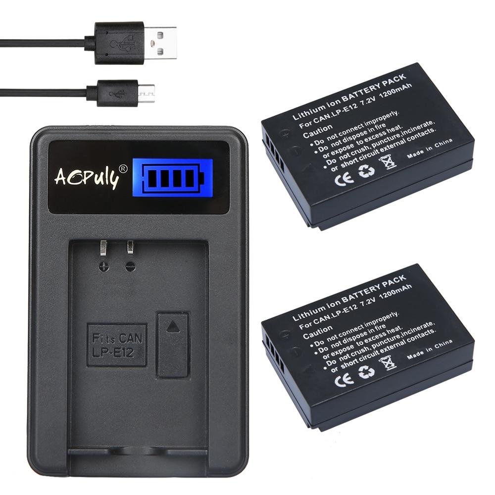 2X LP-E12 LPE12 LP E12 batería AKKU + cargador USB con LCD...