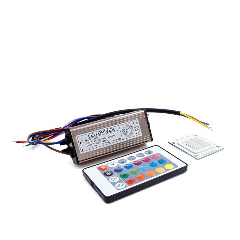 A microplaqueta colorida da espiga do diodo emissor de luz 85-265 v com motorista do diodo emissor de luz e 24 chaves de controle remoto 1 conjunto conduziu a microplaqueta do dimmer do rgb 10 w 20 w 30 w 50 w