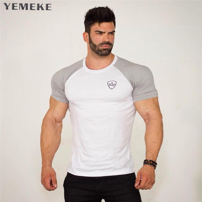 YEMEKE Mens Summer gyms Fitness brand T-shirt Casual Bodybuilding Slim Shirts printed O-neck Short sleeves cotton Tee Tops