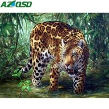 AZQSD pintura de diamante leopardo bosque pared arte artesanal 3D DIY bordado de diamantes Animal completo cuadrado/taladro redondo decoración del hogar
