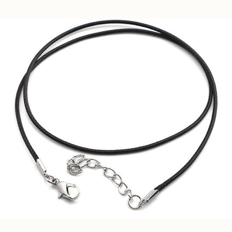 NK697 Hot 2.0mm Clasp String Black PU Leather Cords Rope Necklace For Women DIY Chain Necklace Acces