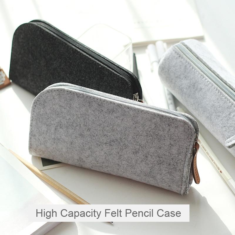 Cartuchera de fieltro minimalista coreana, cartuchera de gran capacidad para estudiantes, suministros de papelería de oficina