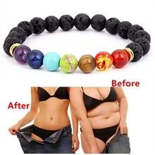 YIMLOI bouddha béni perdre du poids Chakra Bracelet noir lave guérison équilibre perles Reiki prière Bracelet en pierre naturelle pour les femmes
