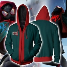 Spider-Man Into the Spider Verse Miles Morales Cosplay Costume veste Spiderman Zipper sweat à capuche 3D Sweatshirts manteau